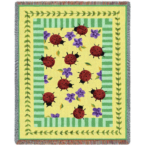 Lady Bug Garden Art Tapestry Throw