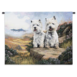 West Highland White Terrier Dog Duo Art Tapestry Wall Hanging