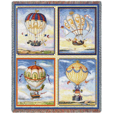 Hot Air Balloon Collage Art Tapestry Throw