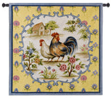 Country Rooster and Hen Art Tapestry Wall Hanging