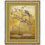 Bird out of Cage Art Tapestry Throw