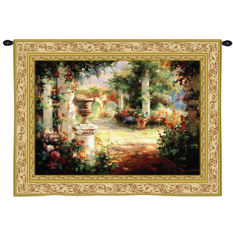Sunlit Courtyard Art Tapestry Wall Hanging