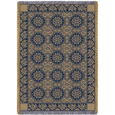 1845 Quilt Pattern Art Tapestry Throw, Navy Blue