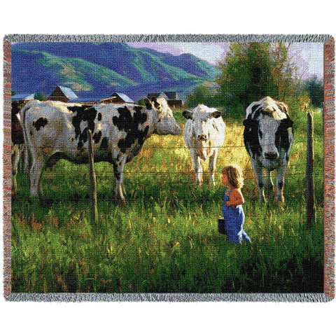 Dairy Cows & Farm Girl Art Tapestry Throw