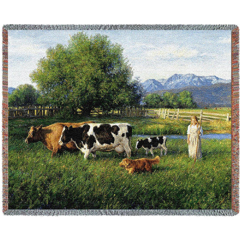Country Girl Walking The Cows Home Art Tapestry Throw