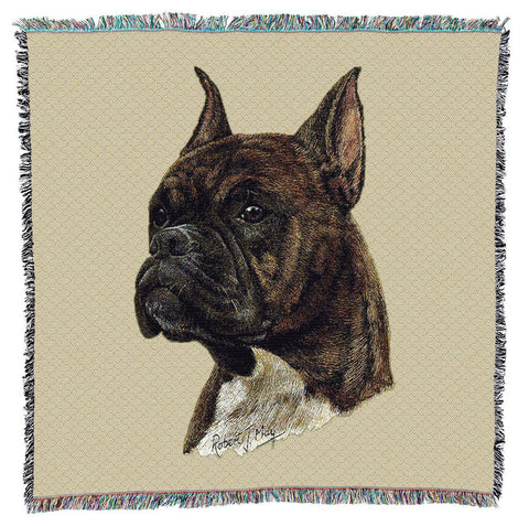 Boxer Brindle Dog Portrait Art Tapestry Lap Throw