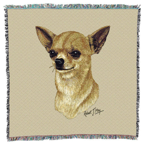 Chihuahua II Dog Portrait Art Tapestry Lap Throw