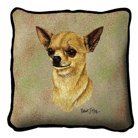 Chihuahua II Dog Portrait Art Tapestry Pillow