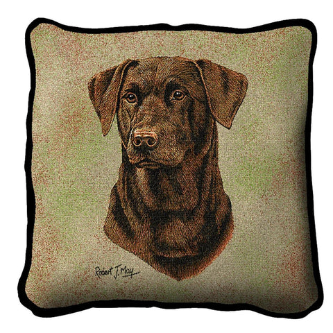 Chocolate Labrador Dog Portrait Art Tapestry Pillow