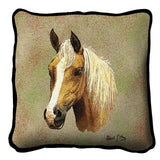 Palomino Horse II Portrait Art Tapestry Pillow