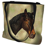 Thoroughbred Dark Brown Horse Portrait Art Tapestry Tote Bag