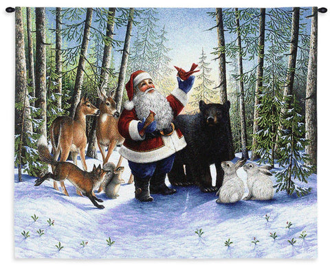 Santa and Forest Creatures Art Tapestry Wall Hanging