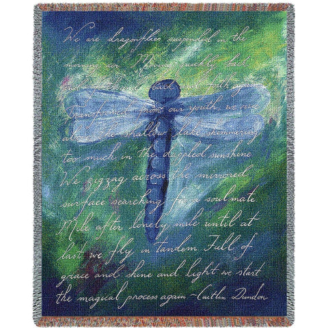 Dragonfly Poem Art Tapestry Throw