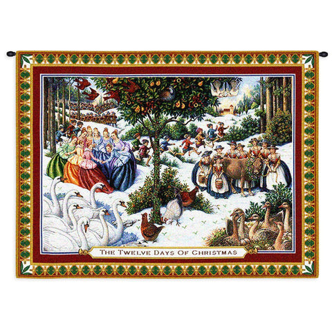 The 12 Days of Christmas Art Tapestry Wall Hanging