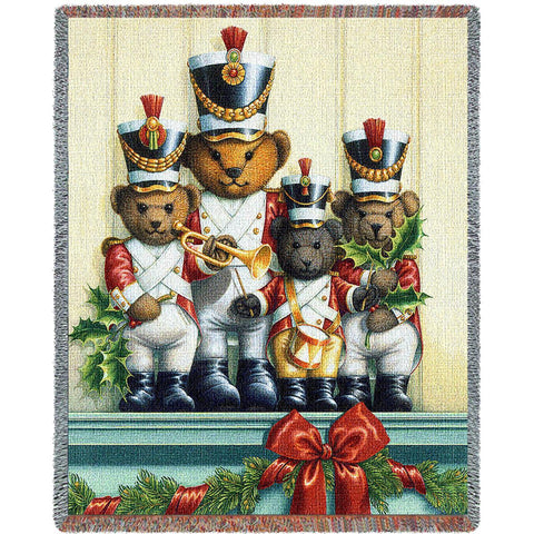 Christmas Toy Soldier Bears Art Tapestry Throw