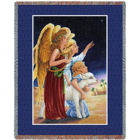 Angels and Lamb Art Tapestry Throw