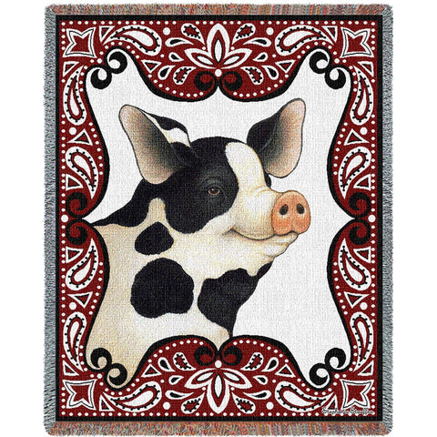 Bandana Pig Art Tapestry Throw