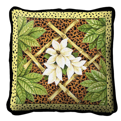 Bamboo, White Flowers and Leopard Spots Art Tapestry Pillow