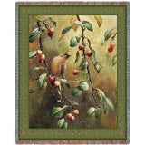 Bird on Cherry Tree Branch Art Tapestry Throw