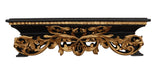 French Inspired  Leaf Design Bed Crown in Gold Leaf on Black Finish