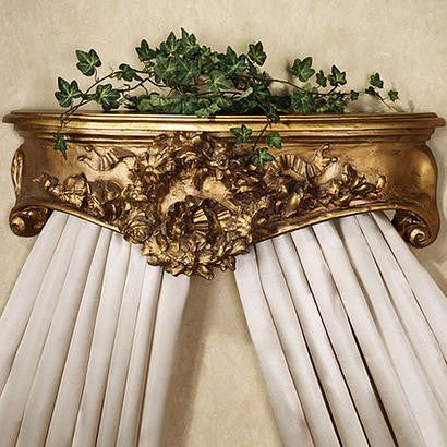 Olde World Style Floral Wreath Bed Crown in Antique Gold Finish