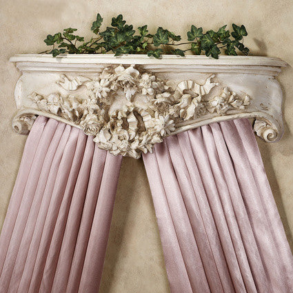 Olde World Style Floral Wreath Bed Crown in Old World White Finish