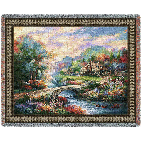 Country Bridge Art Tapestry Throw