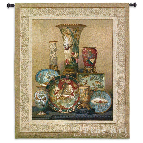 Cloisonne Plate and Vase Arrangement Art Tapestry Wall Hanging