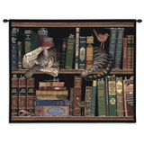 Max The Cat Among The Books Art Tapestry Wall Hanging