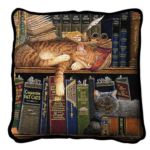 Remington The Well Read Cat Art Tapestry Pillow