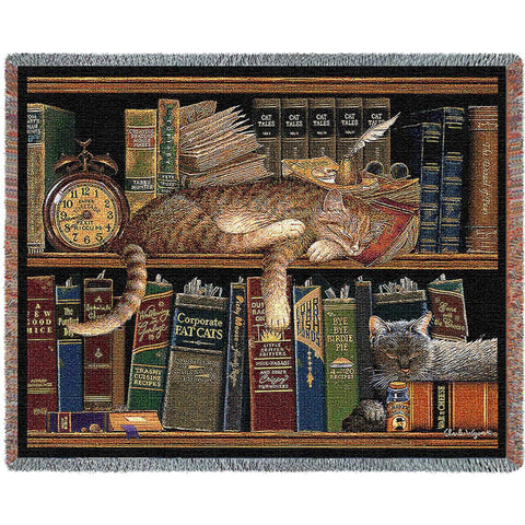 Remington the Well Read Cat Art Tapestry Throw