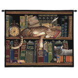 Remington The Well Read Cat Art Tapestry Wall Hanging