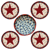Red Star Round Coasters & Basket Holder 5-Piece Set 29-CB015RS