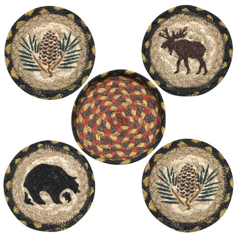 Wilderness Lodge Round Coasters & Basket Holder 5-Piece Set 29-CB043W