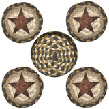 Barn Star Round Coasters & Basket Holder 5-Piece Set 29-CB051S
