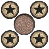 Black Star Round Coasters & Basket Holder 5-Piece Set 29-CB099S