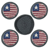 Americana Flag Round Coasters & Basket Holder 5-Piece Set 29-CB1032