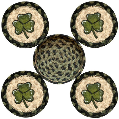 Irish Shamrock Round Coaster & Basket Holder 5-Piece Set 29-CB116S