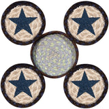 Blue Star Round Coasters & Basket Holder 5-Piece Set 29-CB312BS