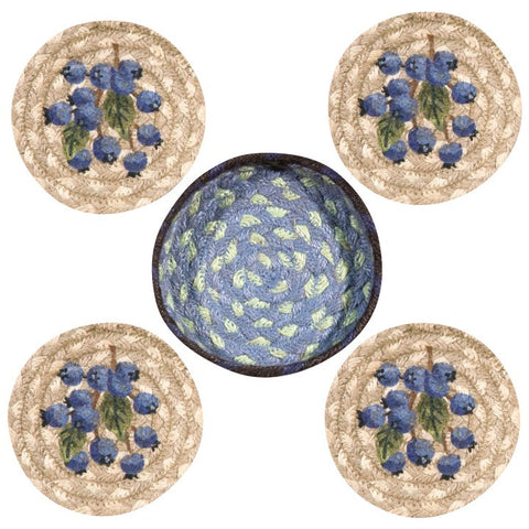 Blueberries Round Coasters & Basket Holder 5-Piece Set 29-CB312B