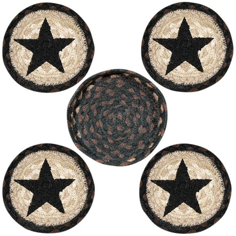 Black Star III Round Coasters & Basket Holder 5-Piece Set 29-CB313BS