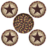Burgundy Star Round Coaster & Basket Holder 5-Piece Set 29-CB357BS