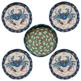 Blue Crab Round Coasters & Basket Holder 5-Piece Set 29-CB359BC