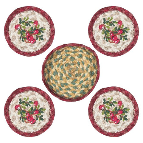 Cranberries Round Coasters & Basket Holder 5-Piece Set 29-CB390C