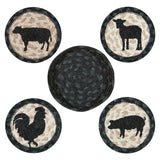 Barnyard Animals Round Coasters & Basket Holder 5-Piece Set 29-CB459BA
