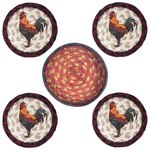 Rustic Rooster Round Coasters & Basket Holder 5-Piece Set 29-CB471RR