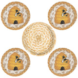 Beehive Round Coasters & Basket Holder 5-Piece Set 29-CB9-101B