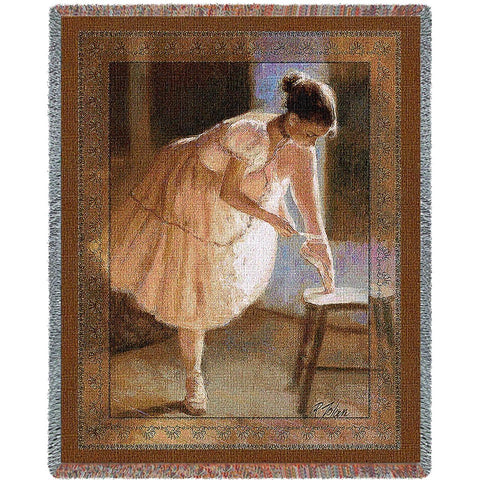 Ballet Dress Rehearsal Art Tapestry Throw