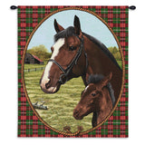 Mare and Foal Art Tapestry Wall Hanging with Plaid Border