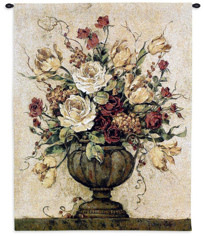 Elegant Floral Arrangement in Urn II Art Tapestry Wall Hanging